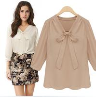 Free shipping new 2014 V-neck chiffon shirt with bow women's summer casual chiffon blouse fashion half sleeve blouse shirt tops