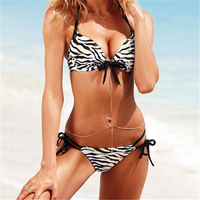 2014 New Victoria Hot Sexy  Summer Bikini Swimwear Women Swimsuit Push Up Bikini with Zebra Printing Free Shipping