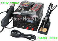 Free Shipping by DHL 1PCS 220V SAIKE 909D Soldering/Hot air gun rework station 3 in 1 Soldering iron+Hot Air Gun+Power Supply
