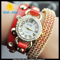 Wholesale fashion leather wrap around chain watch women (SW-1252)