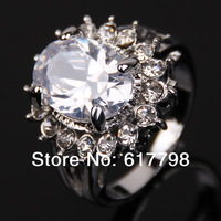 New Size 7 8 9 Lady's 10KT White Gold  Filled White Sapphire Ring Gift Party Ring Free Shiping