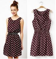 New Arrival 2014 Women Brand Chiffon Sweet Cardioid Tank Dress Fashion Wine Red Mini Sleeveless Print Dresses Free Shipping