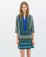 2014 New Fashion Ladies' vintage geometric pattern dress V neck half sleeve casual  dress evening party brand design dress