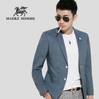 Male suit outerwear civies single terylene long-sleeve slim fashion modern blue color