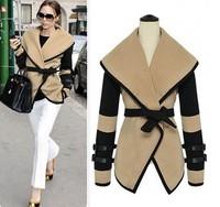 Autumn 2014 New Ladies british style victoria large lapel cape wool coat with Belt Winter Women outerwear Fashion jacket