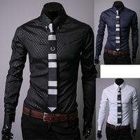 2014Free shipping!!! Mens Designer Stripes Dress Shirts Tops Casual Slim long shirts