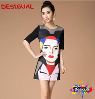 2014 spring summer women sleeveless dress desigual spain brand lady robe desigual vestido  size S M L XL