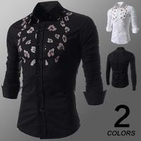2014 new men's leisure printed shirt free shipping size M - XXL