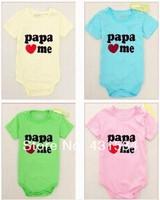 2014 Free shipping 1pieces/lot New fashion 8 designs Newborn short-sleeve bodysuit baby jumpsuit / Simle logo/papa/ mama love me