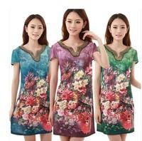 XL-5XL 2014 new fashion summer Middle-aged mom fat ladies summer dress big yards short sleeve beaded silk dress plus size dress