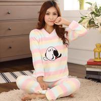 Wholesale Autumn And Winter Coral Velvet Cartoon Long Sleeve Pajamas Set Ladies Pajamas Set