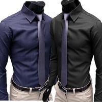 hot sale New Fashion Men's Stripe Stylish Casual Slim Fit Long Sleeve Dress Shirts 2Color Black Blue M/L/XL/XXL free shipping