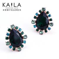 Kaila blue big stud earring female fashion crystal earrings anti-allergic earring new arrival