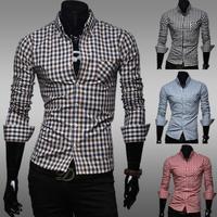 Free Shipping ! 2014 New Fashion Casual Grid long-sleeved mens shirts, Fashion Leisure styles lim fit shirts