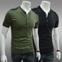 HOT2014Classic epaulet decoration male color block basic shirt round neck short-sleeve slim T-shirtFree shipping
