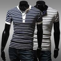 HOT ;2014Free shippingClassic stripe male basic shirt short-sleeve slim v-neck T-shirt