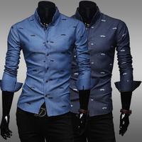 2014 men new fashion individual pattern print slim fit dress shirts size M-XXL