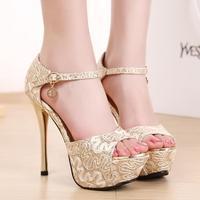 Hot!super-high heels sandals sexy ladies summer shoes luxury fish toe platform pumps hollow sequine nightclub sapatos femininos