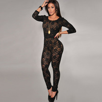 2014 summer black lace lining long trousers bodysuits backless hollow out plus size women lace jumpsuit FREE SHIPPING