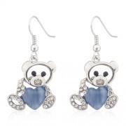 9301 accessories black stone heart key female earrings silver paragraph