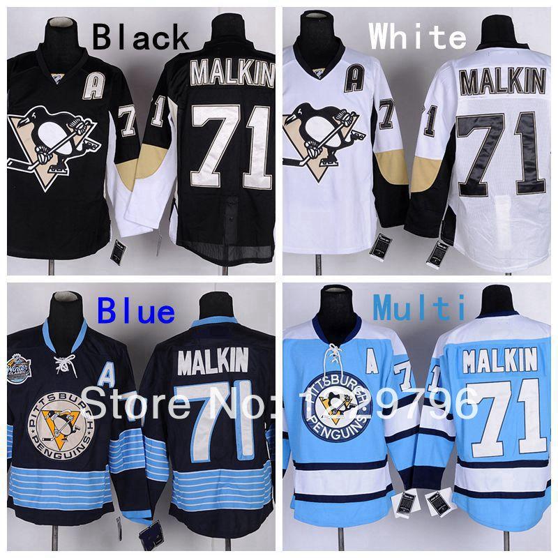 Pittsburgh Penguins Hockey Jerseys #71 Evgeni Malkin Jersey Home Black Road White Alternate Navy Blue Third Light Blue Jerseys A(China (Mainland))