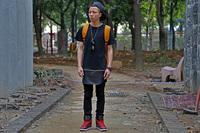 2014 new Solid color  PU  metal zipper ultra long short-sleeve T-shirt street trend of the  short tee   pyrex swag t shirt