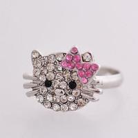 Wholesale Korean Jewelry Free Shipping Fashion rhinestone cat ring hello kitty ring jewelry wholesale !!!