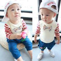 2013 autumn children's clothing baby child clothing boys stripe long-sleeve T-shirt children