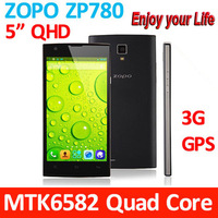 Free shipping: ZOPO ZP780 mtk6582 quad core phones android 4.2 & 5.0inch full hd screen 1GB RAM  Black4GB ROM 5mp camera 3G/GPS