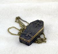 2014 fashion silver & antique bronze vintage personalized retro bat  men cross & coffin box pendant sweater necklace & jewelries