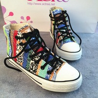 2014 spring women sneakers canvas shoes low women's color block decoration shoes single shoes cloth