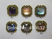 Free shipping Crystal Diamond Vintage Square Button FLAT BACK,20PCS/LOT