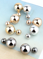 Fashion double faced metal pearl stud earring female big stud earring vintage 2014 free shipping
