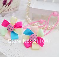 Cute Baby kid children girl Elastic Hair bands Ribbon Flower rubber band baby hair accessories PEB-0133