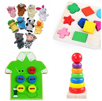 Free Shipping!4 in 1 Baby Toys Montessori educational blocks Geometric Blocks Plush Finger Puppet and Buttons Beads 4pcs for set