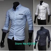 Free shipping 2014 new spring and summer high-quality men's shirts Polka Dot Slim long-sleeved men's shirts