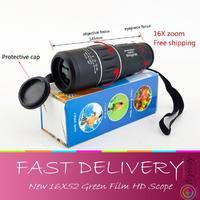 Free shipping, New 16X52 Dual Focus Monocular Telescope,16x Zoom Binoculars 66M/8000M high-powered HD Scope night vision