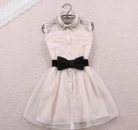 Belt Seconds Kill A-line Spring Summer 2014 New Fashion Sweet Little Pearl Diamond Lapel Waist Sleeveless Dress Gauze Tutu Lq912