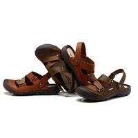 2014 sale fashion 100% genuine leather closed-toe beach slippers sandals men summer rubber-soled  size 39-44