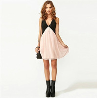 2014 Limited New Arrival Natural Above Knee, Mini Women Sexy Back Deep V-neck Sleeveless Chiffon Dress Vest Plus Size Shipping
