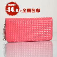 Sweet 2014 japanned leather folder women's wallet long design wallet zipper mobile phone bag