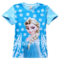 NEW 2014 DHL Free Shipping BABY & kids children t shirts Hot girls short-sleeved T-shirt Frozen 30pcs / LOT  holesale 8065