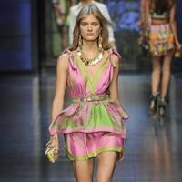 free shipping, Top Fashion Baroque women's vintage silk print V-neck slim sleeveless dress(with belt)lyq126