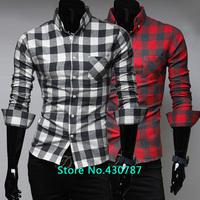 Free shipping new spring and summer 2014 men's fashion casual plaid shirt long-sleeved shirt Men's Slim