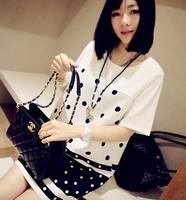 Queen sweet big polka dot all-match loose skirt one-piece dress female