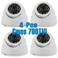 "Free Shipping! 4Pcs - 1/4"" CMOS 700TVL 24LED IR Color Dome Security Mini Video Camera CCTV Cam System"