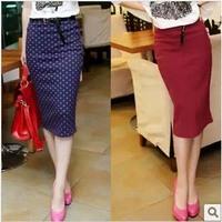 Autumn vintage long design slim hip skirt elegant slim bust skirt high waist polka dot skirt female
