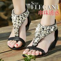 2014 Fashion New Summer Sheepskin rhinestone Women slippers genuine leather drag women's shoes female sandals Size 34-40