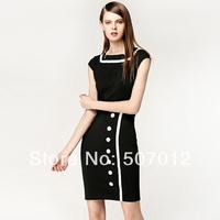 New 2014 Women Business Work Sheath Bodycon Pencil Dress Career Office Knee-Length Midi Vintage Dress Black White Summer Dresses