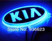 Free shipping NEW Design 4D led car emblem Light car led Badge Lamp car led logo KIA(China (Mainland))